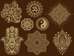 Big set of Mehndi flower pattern, mandala, mantra OM, Yin-yang symbol and Hamsa for Henna drawing and tattoo. Decoration in ethnic oriental, Indian style.