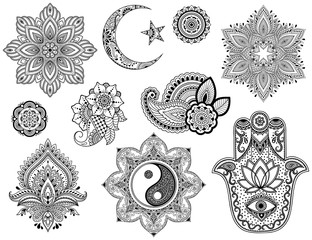 Big set of Mehndi flower pattern, mandala, Star and Crescent, Yin-yang symbol and Hamsa for Henna drawing and tattoo. Decoration in ethnic oriental style.