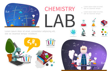 Flat Laboratory Research Infographic Template