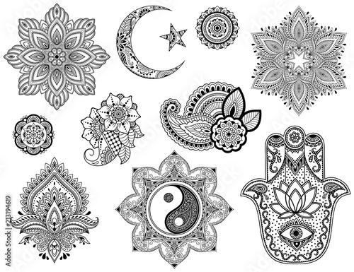 Big Set Of Mehndi Flower Pattern Mandala Star And Crescent Yin