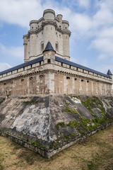 External view of Vincennes Castle (Chateau de Vincennes) - massive XIV - XVII century French royal fortress in the town of Vincennes, to the east of Paris. France.