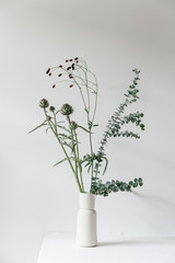 A floral arrangement in a beige vase in a clean white setting, containing eucalyptus, artichoke, great burnet catching the summer evening light.
