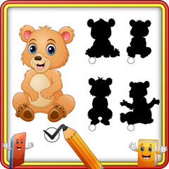 Find the correct shadow baby bear. Shadow matching children game
