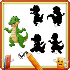 Find the correct shadow. Funny crocodile standing and waving. Education Game for Children