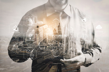 Fototapeta Double exposure of success businessman using digital tablet with London building,filter effect obraz