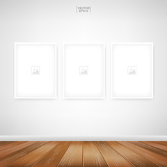 Empty photo frame or picture frame background in room space area with white concrete wall background and wooden floor. Vector.