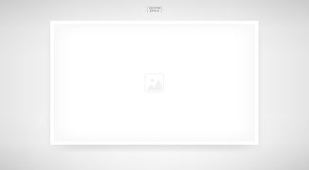 Empty photo frame or picture frame on white background. Background for artwork, photography, poster and banner product with area for copy space. Vector.