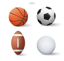 Vector realistic sports ball set. Basketball, Soccer football, American football and golf isolated on white background. Vector.