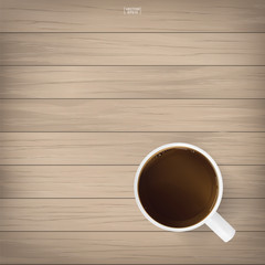 Coffee cup on wood background. Vector.