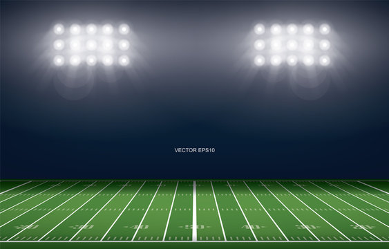 American football field stadium background. With perspective line pattern of american football field. Vector.
