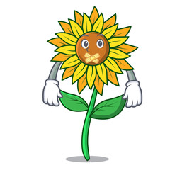 Silent sunflower mascot cartoon style