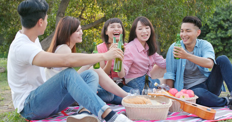 Asian Young friends go picnic together