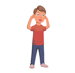 Boy pulling faces and ears with his tongue out character. Flat vector illustration. Isolated on white background.
