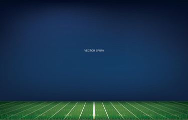 American football stadium background with perspective line pattern of grass field. Vector.