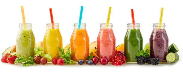 Poster Juice Healthy fresh fruit smoothies with ingredients