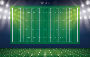 Football field stadium background with perspective line pattern of green grass field. Vector.