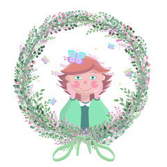 Cartoon girl with butterflies.Wreath of branches and flowers. Bow