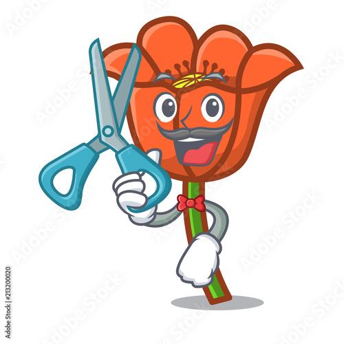Barber poppy flower character cartoon stock image and royalty free barber poppy flower character cartoon mightylinksfo