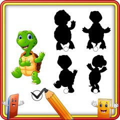 Find the correct shadow. Cartoon funny turtle waving. Education Game for Children