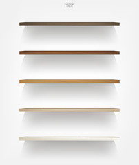 Empty wood shelf on white background with soft shadow. 3D empty wooden shelves on white wall. Vector.