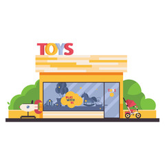 Isolated on white store front with kids toys shop. Vending rocket in front, greenery, child trike