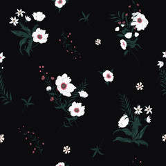 Seamless vector floral pattern with wild flowers