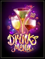 Drinks menu cover vector design
