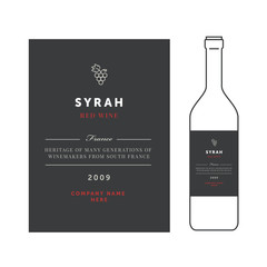 Red wine labels. Vector premium template set. Clean and modern design. Syrah grape sort.