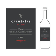 Red wine labels. Vector premium template set. Clean and modern design. Carmenere grape sort.