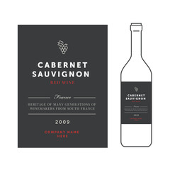 Red wine labels. Vector premium template set. Clean and modern design. Cabernet sauvignon grape sort.
