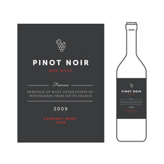 Red wine labels. Vector premium template set. Clean and modern design. Pinot noir grape sort.