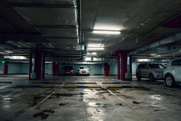 Underground garage parking lot, auto park interior inside