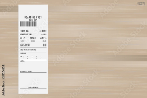 Airline Boarding Pass Ticket On Wood Background Vector Stock