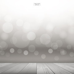 Wooden deck or wooden terrace with light blurred bokeh background. Wood table top and light blurred bokeh background used for montage or display products. Vector.