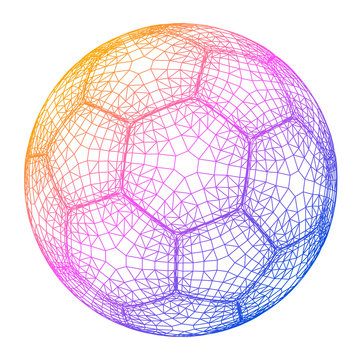 Soccer ball colorful wireframe grid vector illustration