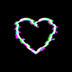 Vector Glitch Heart Icon, Technology Illustration Background, White Love Symbol.