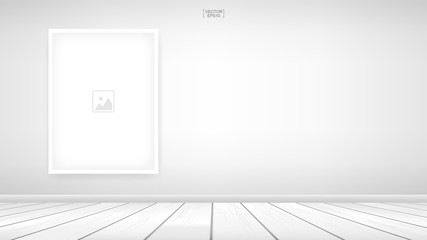 Empty photo frame or picture frame background in room space area with white wall background and wooden floor. Vector.