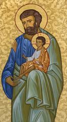 MODENA, ITALY - APRIL 14, 2018: The icon of St. Joseph in church Abbazia di San Pietro by unknown artist.