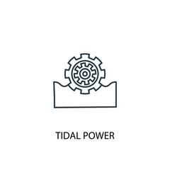 Tidal power concept line icon. Simple element illustration