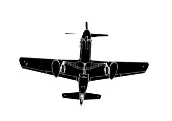 silhouette of airplane vector