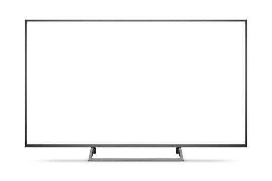 TV 4K flat screen lcd or oled, plasma realistic illustration, White blank HD monitor mockup with clipping path