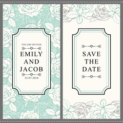 Save the date pattern invitation, wedding card template with white rose flower blossom leaves. Floral natural decoration background backdrop fabric textile design. Vector illustration