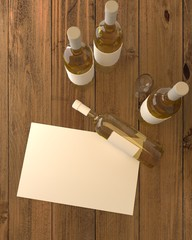 Illustration of wine bottles with white wine with blank label on wooden background. 3d rendering.