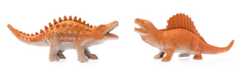 dinosaur and crocodile toy isolated on white background