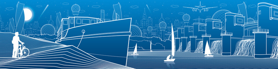 City infrastructure panoramic illustration. Big bridge across river. Hydroelectric Power Station. Ship landed on shore. Sailing yachts on water. White lines on blue background. Vector design art