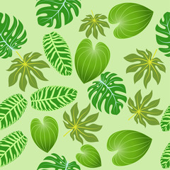 Illustration seamless background of summer tropical leaves