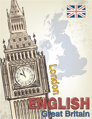 Vector Big Ben and map of Great Britain