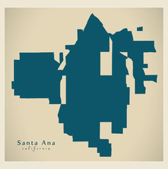 Modern City Map - Santa Ana California city of the USA