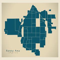 Modern City Map - Santa Ana California city of the USA with neighborhoods