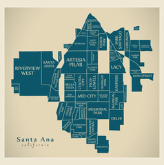 Modern City Map - Santa Ana California city of the USA with neighborhoods and titles